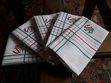 LOT04/ 5 Serviettes de table anciennes 48X52cm Linge Basque métis monogramme VR