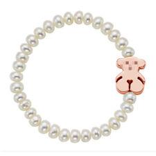 Cute Bear Bracelet 14k Rose Gold Seashell Bead Bracelet Woman Charm Jewelry