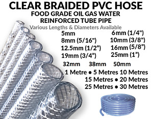 Clear PVC Braided Hose Pipe Food Grade Air Water Oil Reinforced -Pick Size & Len