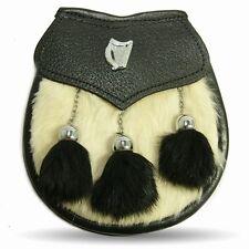 Semi Dress Irish Harp Wht Rabbit Kilt Sporran with Black Tassels Free Chain Belt