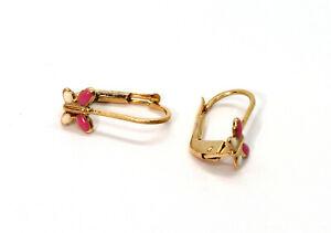 Ohrringe Ohrhänger Schmetterling Gold 585 / 14kt Gelbgold Kinderohrringe Bouton