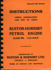 Ruston-Hornsby Class PB Petrol Stationery Engine Instruction Parts Book