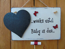 """Shabby Chic """"...weeks until Baby is due..."""" Mini Chalkboard Plaque"""
