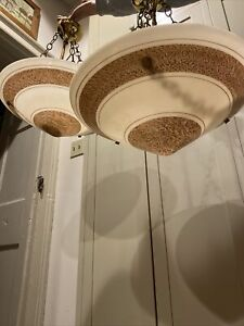 Matched Pair ART DECO Indirect Shower Hanging Light Fixtures