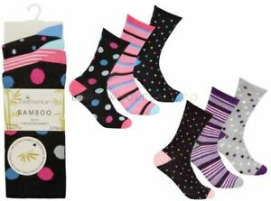 Pack of 3  Pairs Ladies Luxury Bamboo Socks, spots & stripes, Shoe Size 4-8