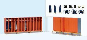 Preiser 17708 H0, Feuerwehrspinde, 6 montierte Spinde, bemaltes Zubehör, Neu