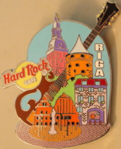 Hard Rock Cafe RIGA 2004 Brown Guitar with Building UNRELEASED RARE PIN #92518