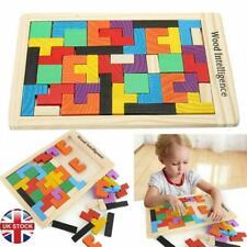 Wooden Tetris Building Block Puzzle Montessori Preschool Educational Toy Tangram