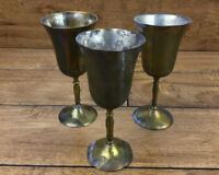 Vintage Brass Cup Goblet Set Of 3