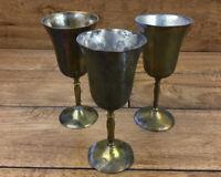 Vintage Brass Cup Goblet Set Of 3