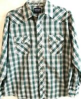 Wrangler-Mens Western Rodeo Pearl Snap Shirt-Extra Large-Green Plaid-Long Sleeve