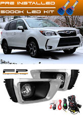 For 2014 2015 2016 Subaru Forester XT Clear Fog Lights Lamps Complete Kit + LED