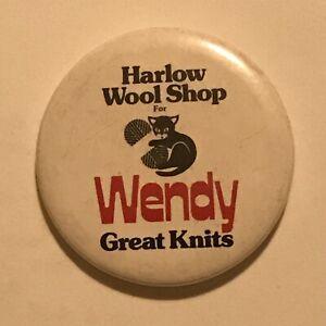 Harlow Wool Shop-Wendy Knitting Vintage Pin Badge-RARE