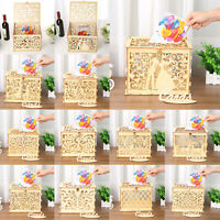 DIY Wedding Gift Card Box Wooden Money Box with Lock Box Kit Wedding Party Decor