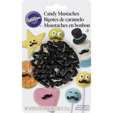 Wilton 25g Black Edible Candy Mustaches for Cookie Cake Pop Character Decorating