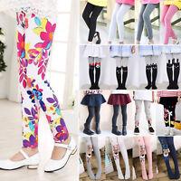 Kids Baby Girls Warm Full Length Leggings Stretchy Skinny Pants Trousers Winter