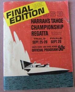 1963 Harrah's Tahoe Championship Regatta Program Unlimited Hydroplanes Final Edn