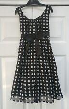 Matalan All Dressed Up Girls Stunning Polka Dot Party Dress Age 6-7 years Black