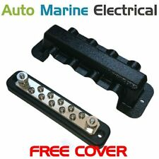 Auto & Marine Power Distribution Bus Bar 10 Way Screw with Cover - 150A