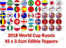 Russia World Cup 2018 Football Edible Rice Paper Birthday Cupcake Cake Toppers