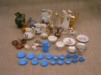 40+ Vintage Miniature Plates Cups Pitchers of Porcelain, Pottery, Glass & Metal
