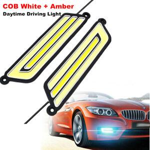 Pair U Shape COB White+Amber LED Light Car Driving Light DRL Lamp 12V Waterproof