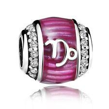 Pink Enamel Capricorn European Silver Bead Fit 925 Sterling Charm Bracelet Chain