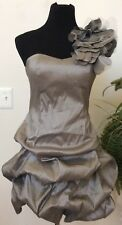 NWT Daisy Flower Appliques Gray Formal Cocktail Party Ruffle Dress Size M $99.99
