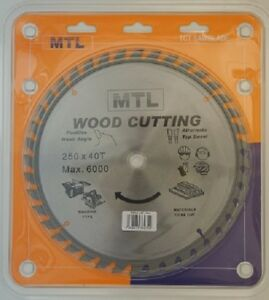 250mm dia. x 40T x 16mm bore MTL brand TCT Circular Saw Blade for Wood cutting