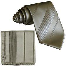 New Men's Polyester Stripes Neck Tie necktie and Pocket Square Hankie Set Silver