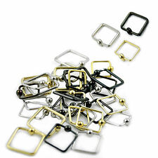 Captive Ring Assorted Colors & Sizes Wholesale Pack 36pcs Surgical Steel Square