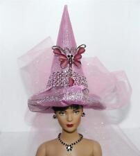 Pink & Raspberry Butterfly Pin Mini Fairy Salem Witch Hat For Doll BottleTop Orn