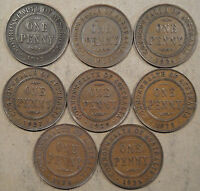 Australia 8 Different Pennies 1912-1935 Nice Group