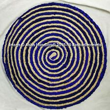 Indian Handmade Braided Rugs Mat Carpet Round Vintage Jute & Cotton Door Mats