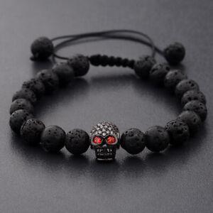 8mm Black Onyx Stone Skull Head  Crown Mens Macrame Bracelets Fashion Jewelry
