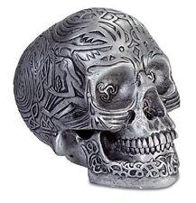 Fabulous Silver Celtic Skull Decor Figure Ornament Haloween Gothic Horror