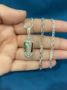 925 Sterling Silver Red Green White CZ San Judas St Jude Pendant & Figaro Chain