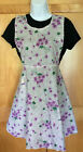 NOS vintage Silin's cotton bib apron purple violets white black pocket rick rack