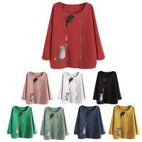 Women Cotton Linen Long Sleeve T Shirts Autumn Casual Baggy Cat Print Blouse Top