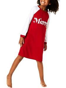 Family PJs Girls Merry Nightgown Sleepshirt Red Small (6/7) NWOT