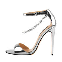 Onlymaker Women's Open Toe Ankle Strap Pearly Sandals Dress Party Shoes Silver