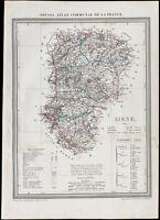 1839 - Carte géographique ancienne de l'Aisne. Département France. Gravure