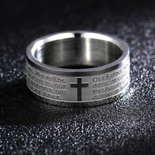 Our Father & Christian Cross Etched Stainless Steel Band Ring Men or Women