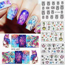 4 Sheets Water Decals Nail Transfer Stickers Dream Catcher Colorful Owl Elephant
