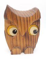 """Vintage Hand Carved Wood OWL MCM TIKI 1960-70s Big Felt Eyes Figurine 4 1/2"""" H"""