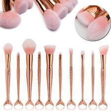 10Pcs Mermaid Makeup Brushes Cosmetic Tool Kit Eyeshadow Powder Brush Set #AU