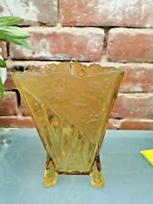ART DECO TRIANGLE SHAPED EMBOSSED AMBER GLASS VASE SOWERBY, BAGLEY 29.5CMS HIGH