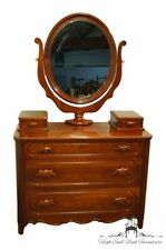 "Davis Cabinet Lillian Russell Collectors Cherry 47"" Dresser and Mirror w. Glo."