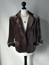 Hobbs Velvet Grey Brown Jacket Blazer Silk Button UK 14 Evening Party Event