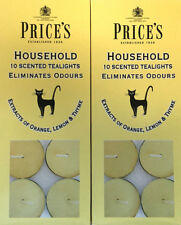 20 x Price's Household Tea Lights Candles Scented Eliminates Pet Odours Scent